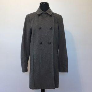Mango Long Wool Blend Grey Pea Coat, XS